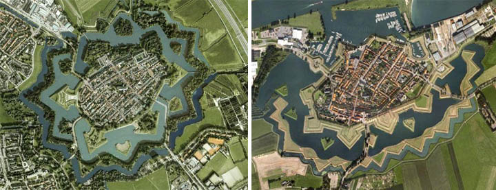 Heusden and Naarden, both in Netherlands